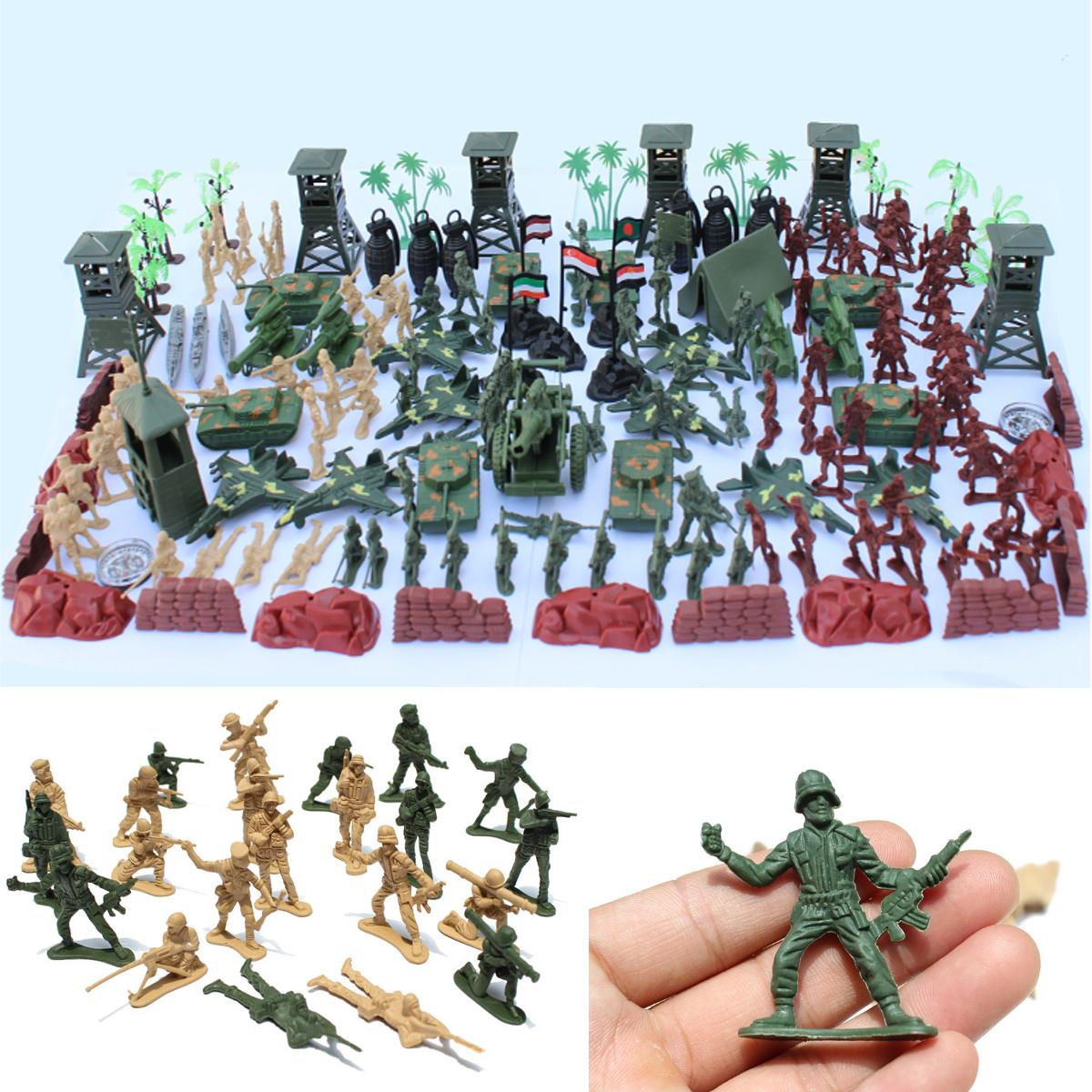 170pcs/set Military Plastic Model Toy Soldier Army Men Figures & Accessories Playset Kit Decor Gift Model Toys For Children 170pcs set military plastic model toy soldier army men figures