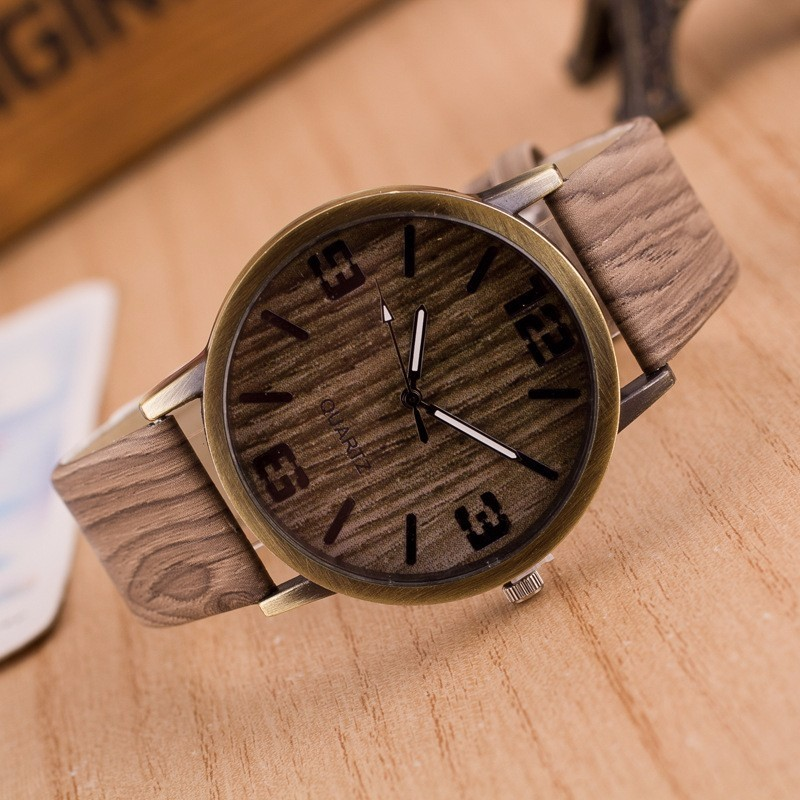 Low price new Vintage Wood Grain Watches for Men Women Fashion Quartz Watch Faux Leather Unisex Casual Wristwatches Gift