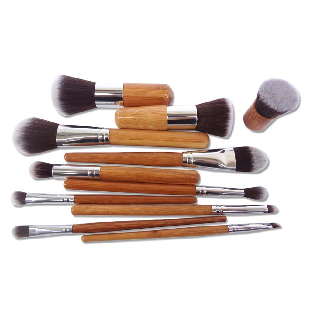 11pcs Fashion Bamboo Handle Makeup Eyeshadow Blush Concealer Brushes Set Wood color