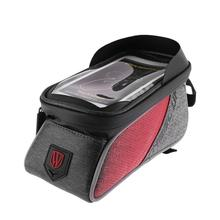 1Pcs Waterproof Bicycle Front Tube Frame Bags Bike Cycling Beam Saddle Touch Screen Canvas Fabric Bag for 6 Inches Mobile Phones