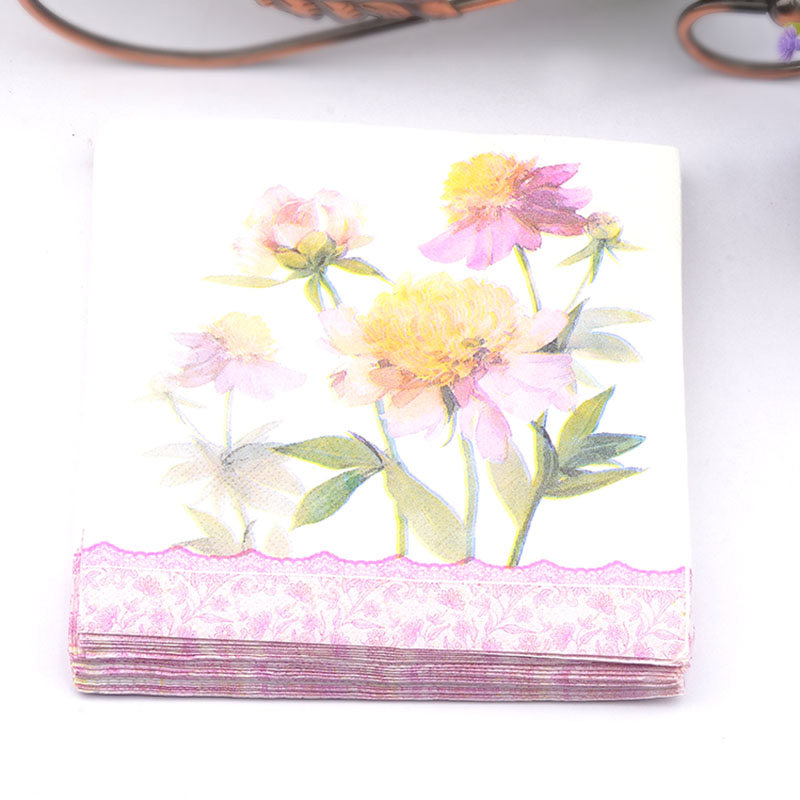 New 20pcs/lot Blue flower paper Napkin wedding napkin table dinner paper Tissues wedding party supplies
