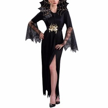Women Vampire Costume Girl Witch Dress Adult Gothic Dark Queen Cosplay Cobweb Spider Fancy Dress for Carnival Halloween Costume