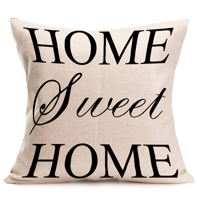 45cmx45cm Sweet Home Life Pillow Case Cotton Linen Cushion Cover Car Office Sofa Throw Pillowcase Square Almofadas Home Decor