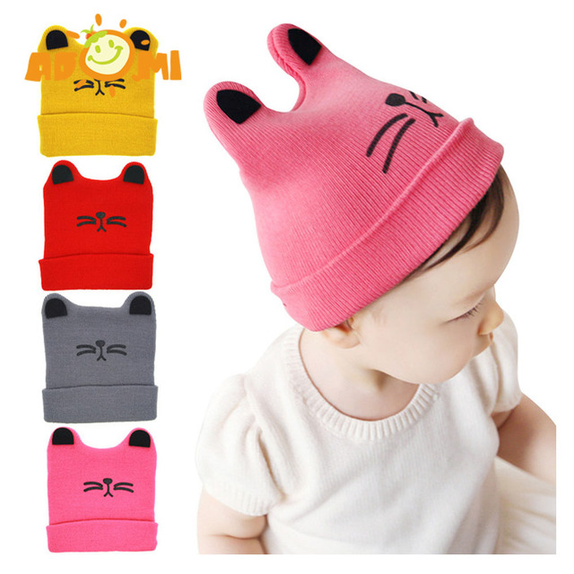 90503e67d46 ADOMI 0-3T Baby Winter Baby Girl knitted Cat Hat Baby Boys Knitted Woolen  Skull Hats Toddler Ski Hats Lovely Knit Accessories
