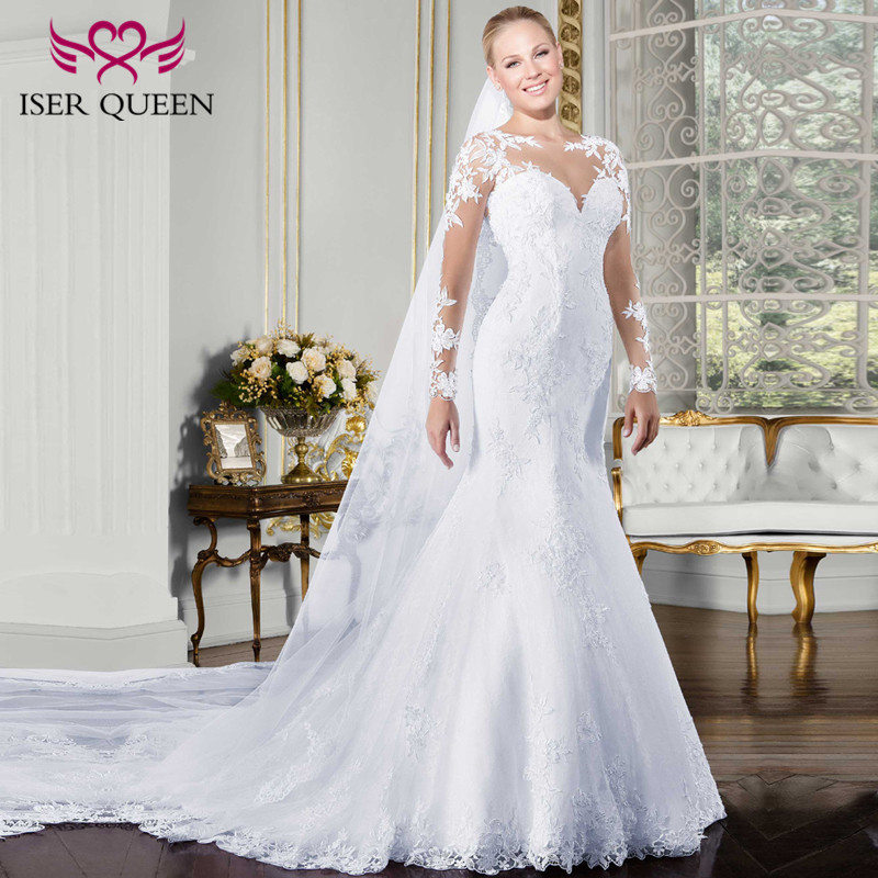 Sweetheart Sheer Neck Long Sleeve Mermaid Wedding Dress  Embroidery Appliques Plus Size White Court Train Wedding Gown W0058