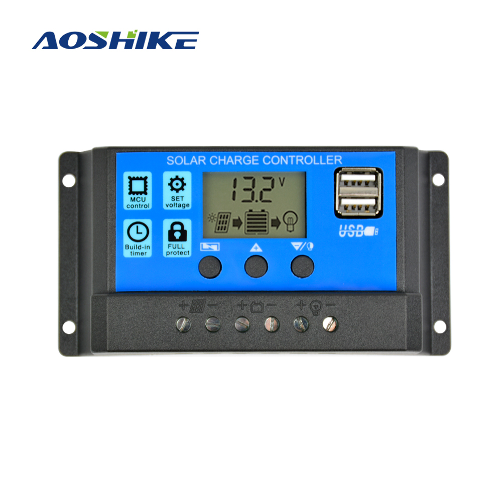 Aoshike Solarladeregler 12 V 24 V 30A 20A 10A Automatische Solar Panel Controller Universelle USB 5 V Lade LCD Display