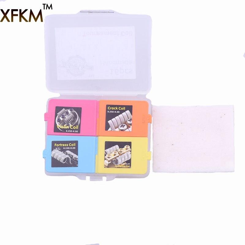 XFKM 4 IN 1 Wire Cotton Prebuilt Coils Box kits Fortress Violin Centipede Crack Coil RDA RTA Atomizer Vapor Vape Accessories