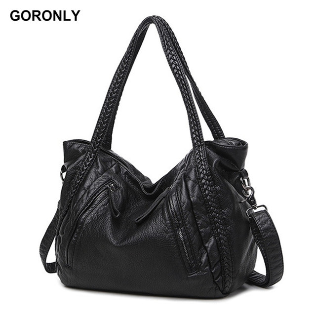 GORONLY Brand Classic Soft Leather Large Handbag Women Designer Shoulder  Bags Female Knitting Totes Fashion Ladies Crossbody Bag 0dc7f7c2a1