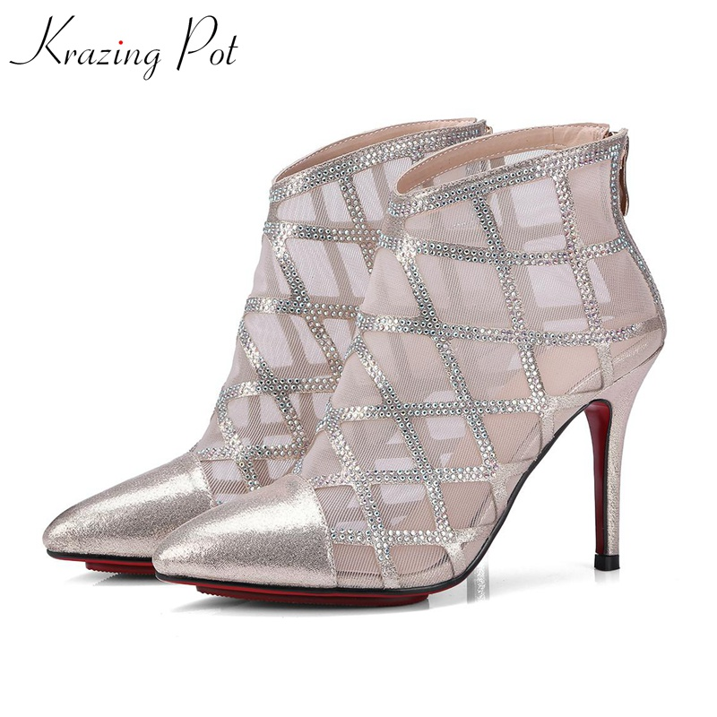 Krazing Pot high street fashion sheep skin leather air mesh crystal ankle summer boots high heels stiletto pointed toe shoes L90