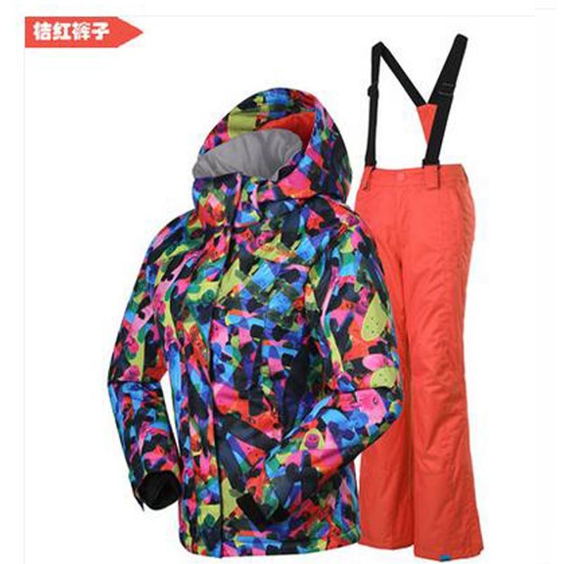 Gsou snow 2017 Child waterproof ski suit set sport suit breathable keep warm ski jackets+pants girl Windproof outdoor snowboard