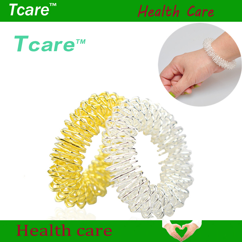 Tcare 2Pcs/Lot Silver Body Massage Supplies Relaxation Stainless Steel Wrist Hand Massager Ring Acupuncture Bracelet Health Care 5pcs acupuncture rings health care body massager finger massage ring