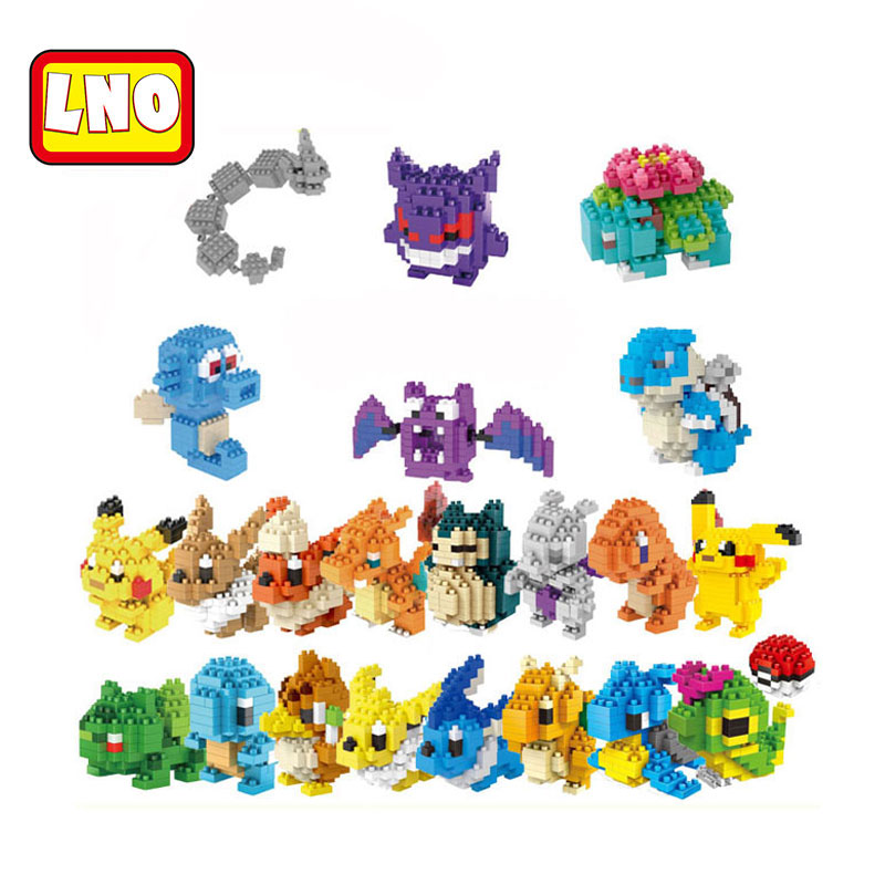 LNO action & toy figures anime pikachu charmander model nanoblock micro building blocks diy bricks educational toys for kids.