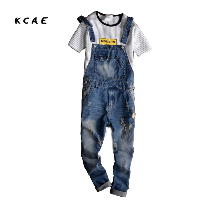 ФОТО Mens Overalls Fashion Denim Overalls For Men Blue Male Pant Work Jeans 2017 New Spring Holes Style Plus Size High Quality