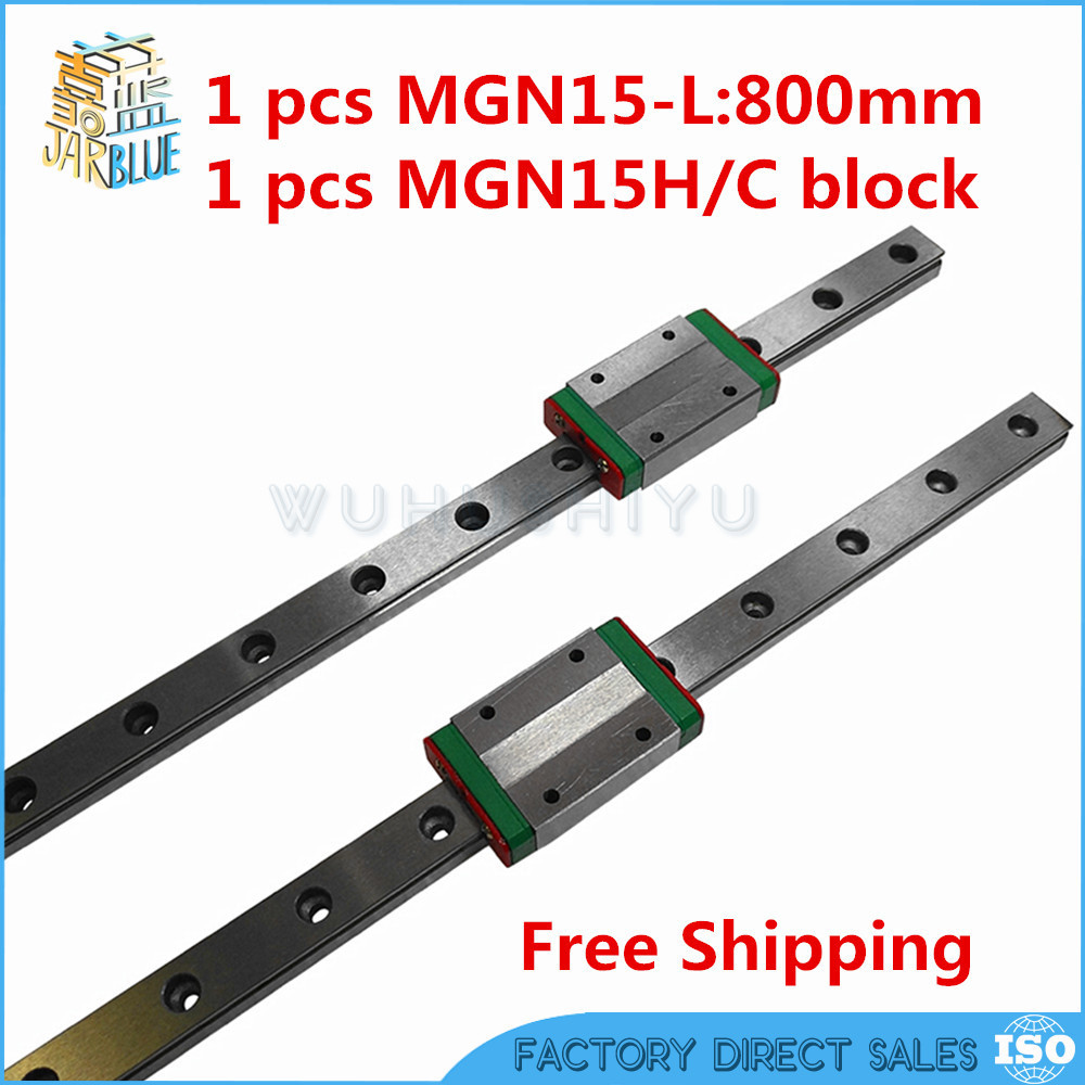 Free shipping 15mm Linear Guide MGN15 800mm linear rail way + MGN15H Long linear carriage for CNC X Y Z Axis
