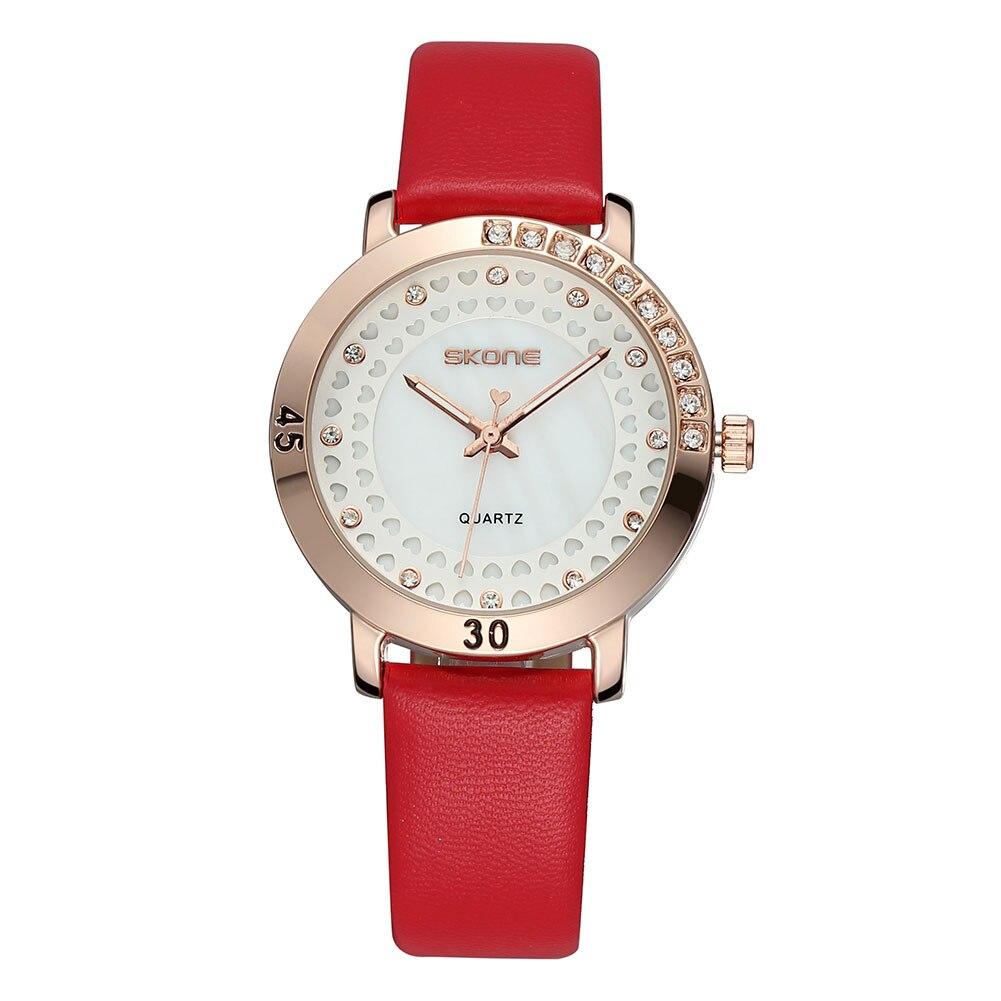 ФОТО Fashion Women Watch Luxury Red Leather Sexy Lady Rhineston Gold Watches High Quality Brand SKONE Clock Relogio Feminino Gifts