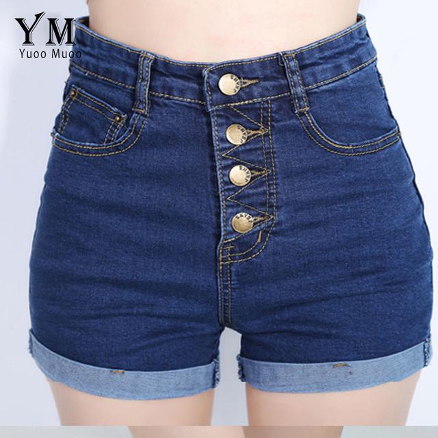 Yuoomuoo 2017 moda 4 botones retro elástico pantalones cortos de cintura alta Feminino Pantalones Cortos de Mezclilla para Las Mujeres Suelta más Tamaño Blue Jeans corto