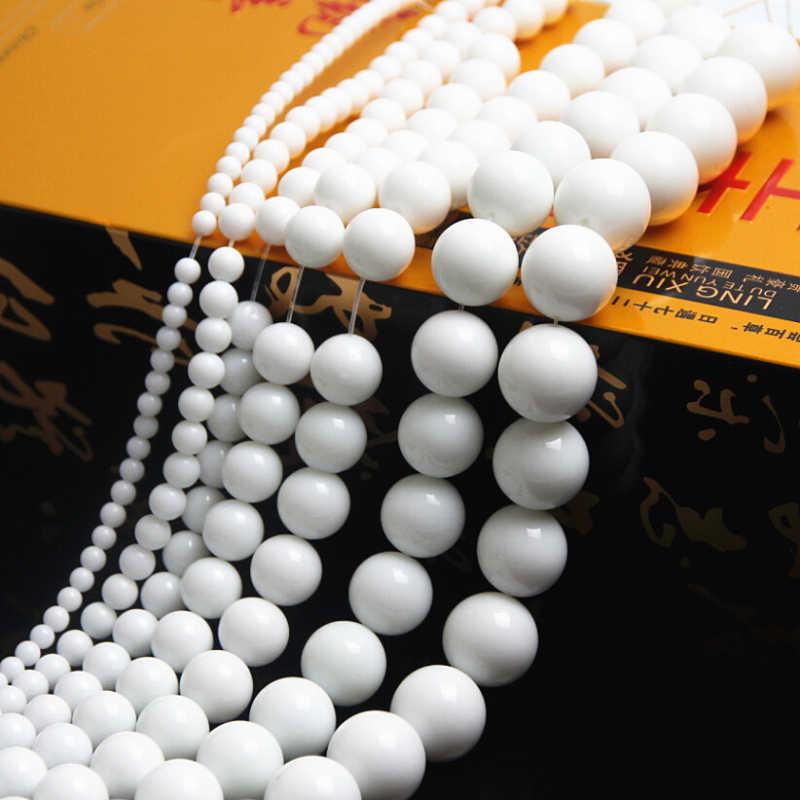 4-12 مللي متر الخرز الحجر الطبيعي الأبيض حجر مستدير فضفاض خزر عازل لصنع المجوهرات قلادة الموضة إسورة لتقوم بها بنفسك