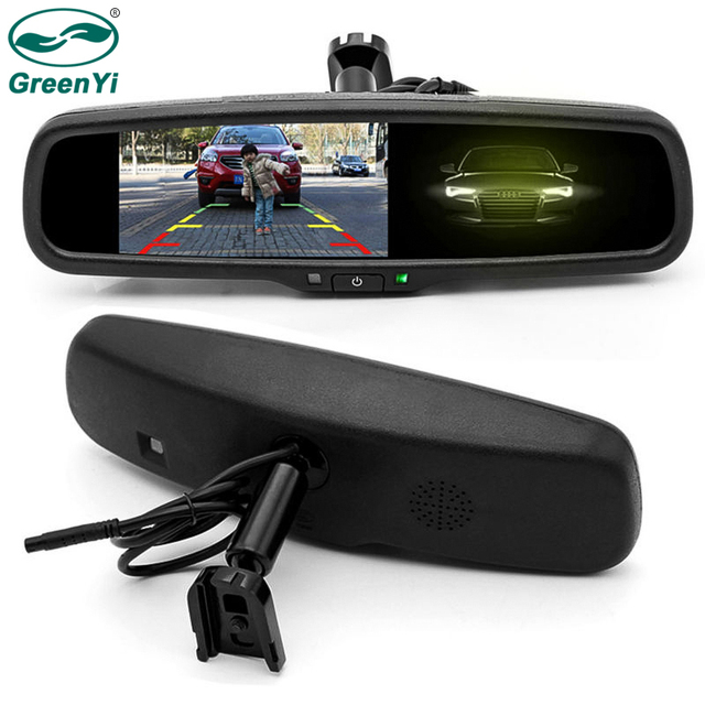 GreenYi السيارات يعتم مرآة الرؤية الخلفية رصد 4.3 بوصة 800*480 القرار TFT LCD اللون رصد سيارة المدمج في خاص قوس