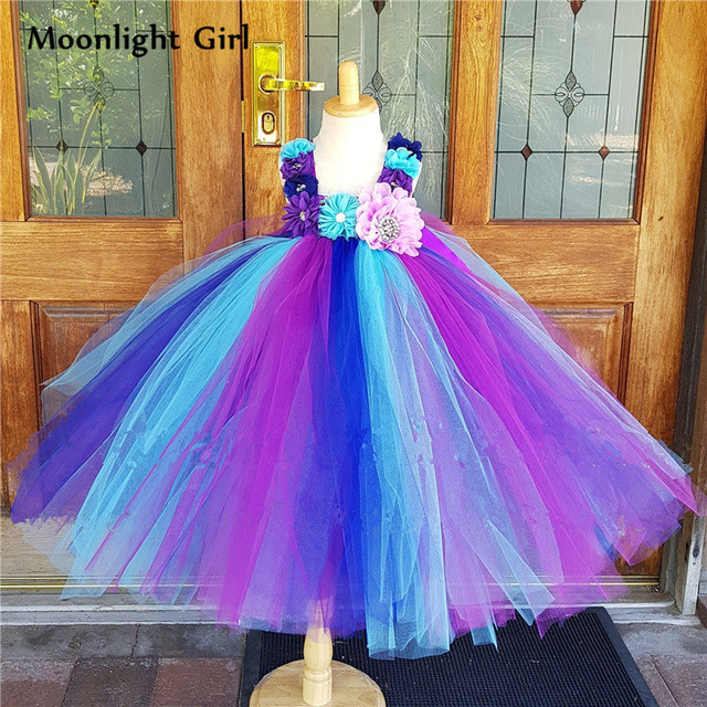 5a0ca64950 New Diamond Flowers Purple Peacock Tutu Dress For Baby Girls Long Ball Gown  Wedding Birthday Formal Party Dresses Costume PQ184