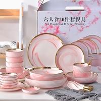 Six People Eat Pink Marble Ceramic Dinner Dish Rice Salad Noodles Bowl home dish soup bowl taste dish rice bowl Dinnerware Sets