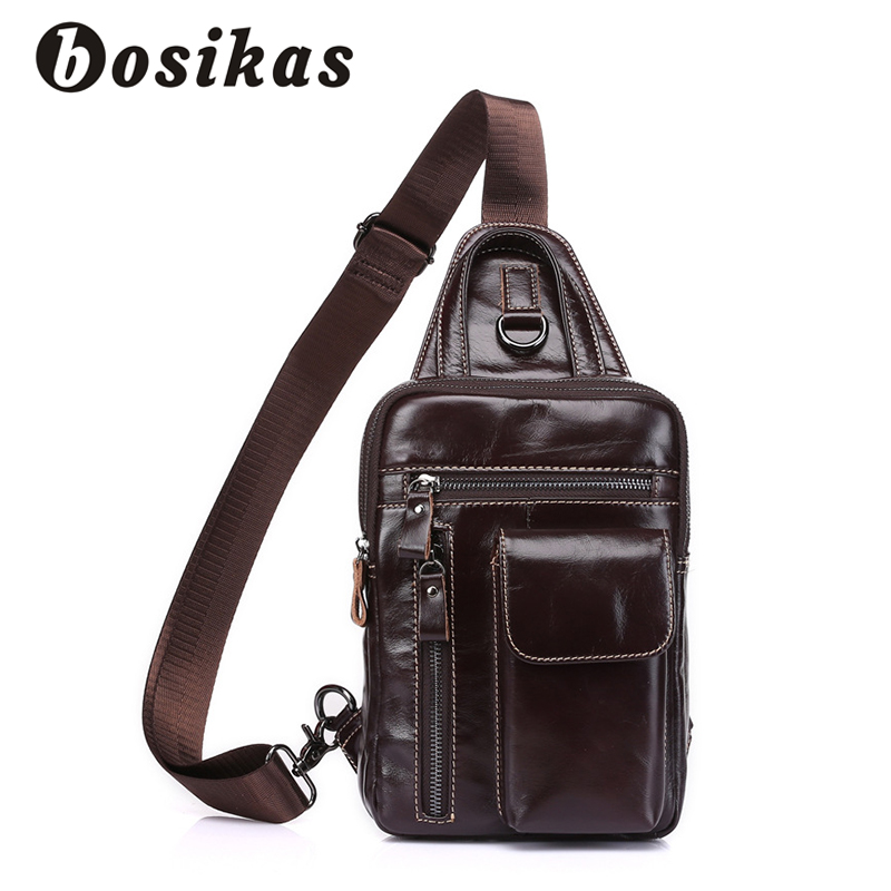 BOSIKAS NEW Men Shoulder Bags Fashion Genuine Leather Men's Bags Casual Solid Messenger Chest bags Zipper Soft Crossbody Bag the rushed casual polyester unisex zipper solid soft new spring and summer 2017 leather bags bag shoulder messenger retro ms