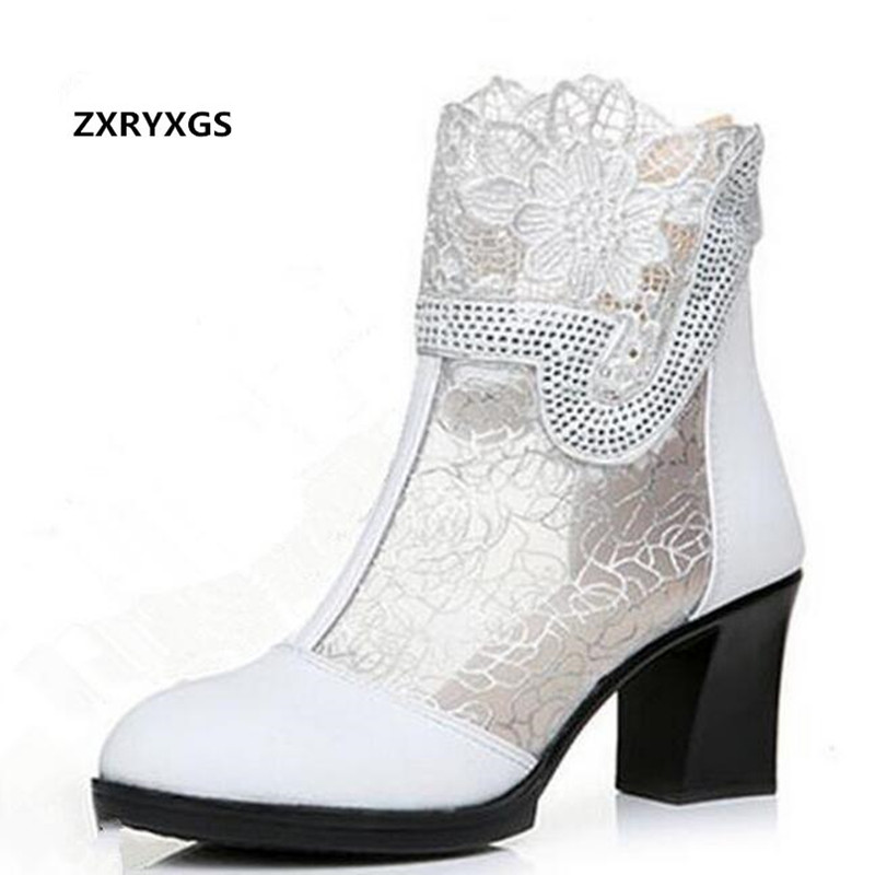 ZXRYXGS Mesh Lace Rhinestones sandals Women Shoes 2019 New Real Leather Shoes Summer Fashion sandals Ankle