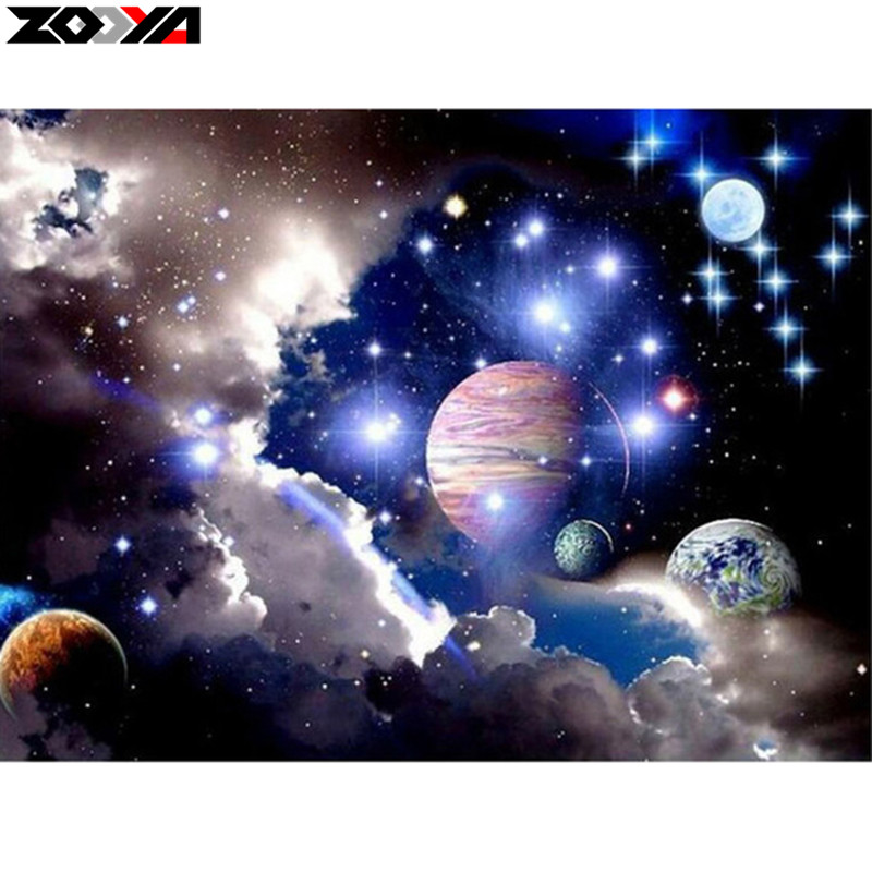 Outer Space Diamond: ZOOYA 5D DIY Diamond Embroidery Outer Space Landscape