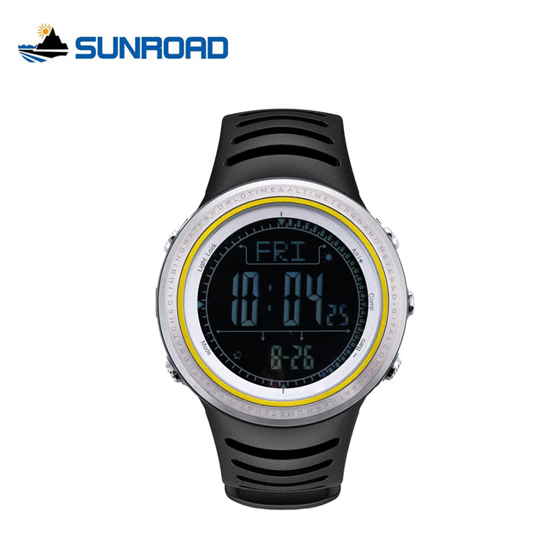 SUNROAD Digital Fishing Watches Waterproof Altimeter Barometer Compass Watch Men Stopwatch Outdoor Pedometer Relogio Masculino  sunroad fr800nb sports watch men waterproof digital altimeter barometer compass watches pedometer men watch style clock green