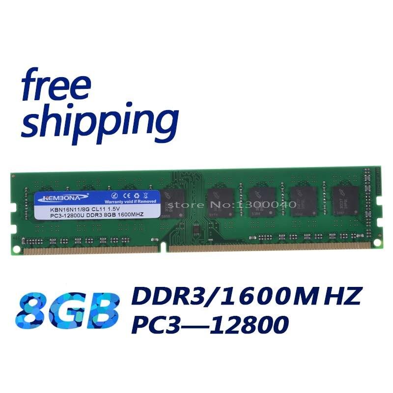KEMBONA ordinateur de bureau de mémoire RAM DDR3 8 GO 1600MHz PC3-12800 Non ECC 240 Broches DIMM memoria seulement pour A-M-D carte mère