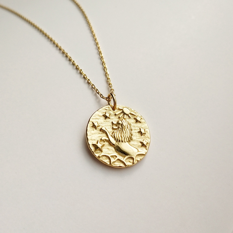 925 Sterling Silber Barock Lion Halskette Frauen Gold Runden Traum Barock Konstellation Halskette Für Frauen Barock Charme Schmuck