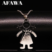 2019 Family Boy Girl Pendants Necklaces Chocker Stainless Steel Chain Necklace Jewelry For Women kettingen voor vrouwen N3409
