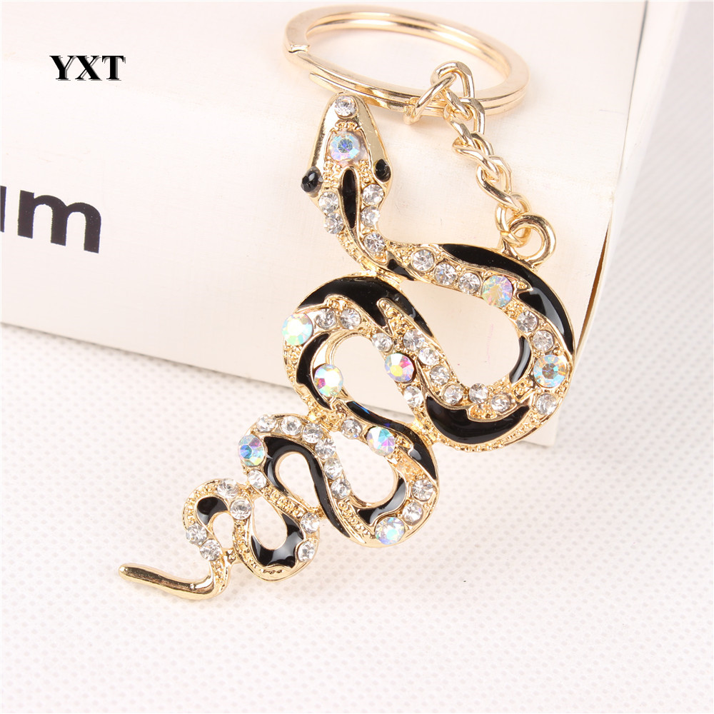 New Snake Fortune Cute Crystal Charm Pendant Purse Handbag Car Key Keyring Keychain Creative Lucky Gift Collection