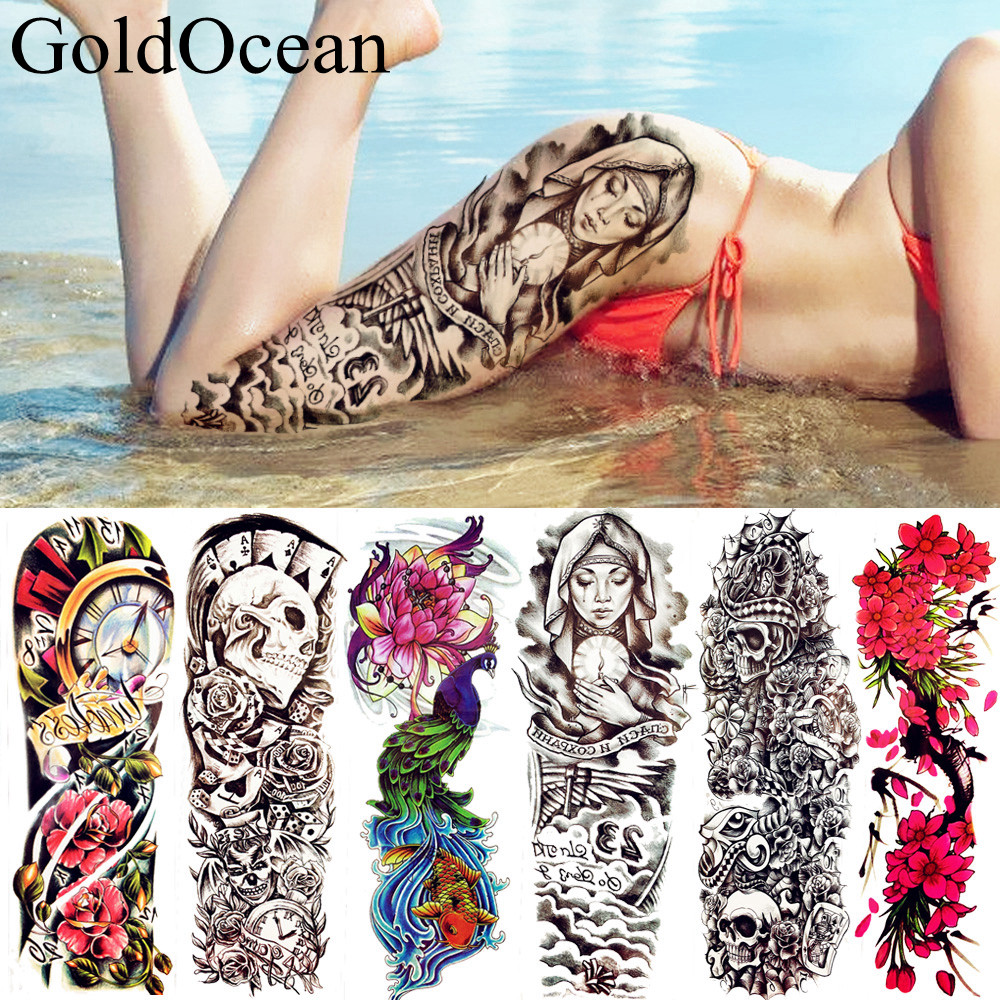 25 Style 47*16CM Nun Girl Prey Temporary Tattoo Sticker Full Arm Body Art