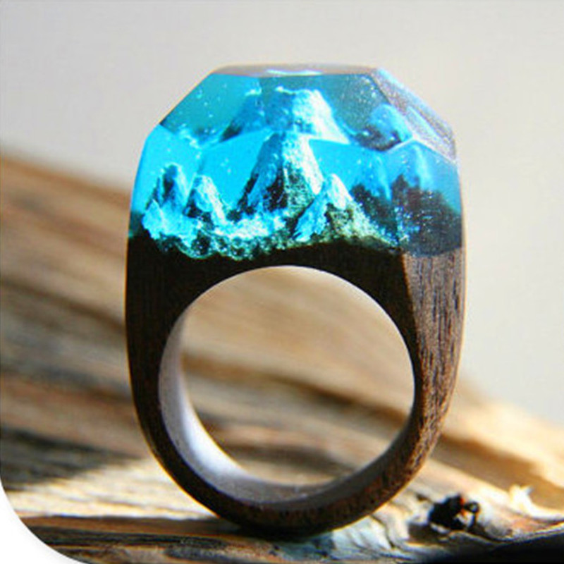Luxury Manual Transparent Resin Wooden Ring For Women Wedding Band Microcosmic Snow Mountain Landscape Jewelry Dropshipping