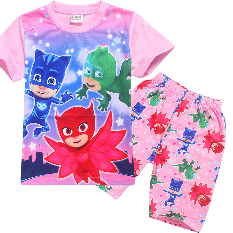hot sale Pajama 2018 Summer T Shirt + Pants Children Cartoon 2PCS Sets Baby Boys Girls Pure Cotton Sleepwear Kids Homewear Suit