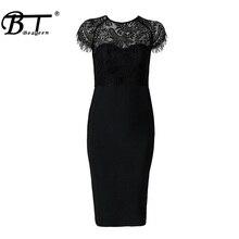 Knee Length O Neck Short Sleeve Lace Bandage Dress