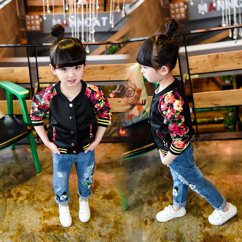 2-7Years Spring Autumn Jacket Black Flower Embroidery Girls Coat Baseball Uniform Cardigan Chaqueta Nino Cute Blouse Casual Wear