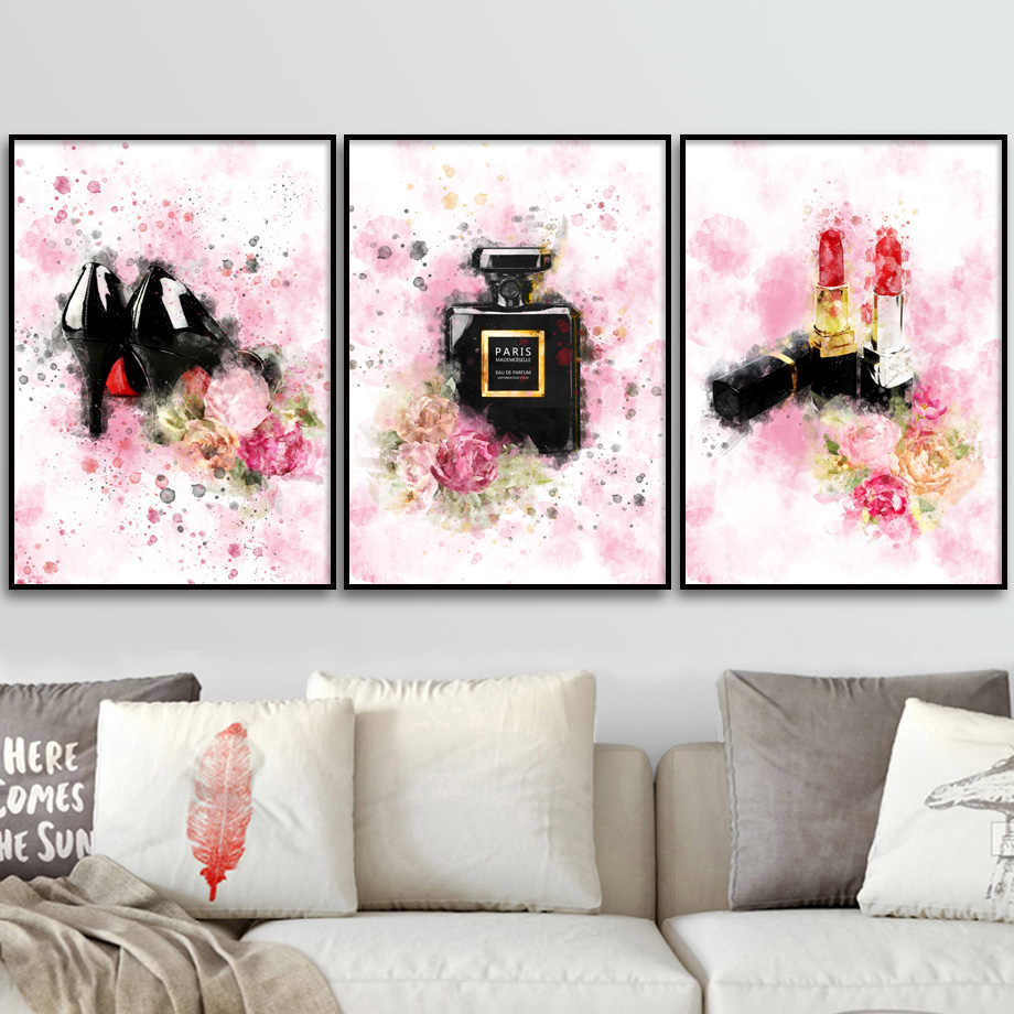 Fashion Paris Brand Perfume Flower Modern Wall Paintings Nordic Posters And Prints Canvas Painting Wall Pictures For Living Room