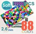 2.6mm suave mini hama beads 22000 unids 88 colores suave perler beads actividad Soft fusible (1 plantilla + 5 hierro papeles 2 pinzas)