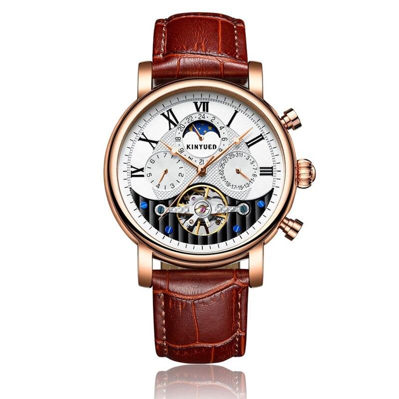 Kinyued механические часы Для мужчин 2018 Топ Роскошный кожаный ремешок золота Moon Phase автоматический Handwatch Скелет Tourbillon мужской часы