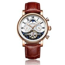 6c9ab87effd Kinyued Relógios Mecânicos Homens Novo Top de Ouro Pulseira de Couro de Luxo  Handwatch Skeleton Tourbillon