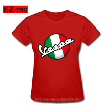 Casual Italian Flag Vespa Logo T-shirt Retro T Shirt Women Motorcycle Scooter Tshirt National Day Trend Clothing
