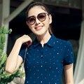 2017 Novo Verão de Algodão Estrela Impressão Camisas Pólo Magros Kawaii Camisas Pólo de manga curta gola virada para baixo respirável polo femme