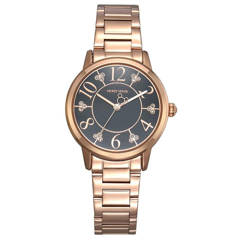 где купить Disney Simple rose gold stainless steel watch for woman Mickey mouse number quartz clocks ladies diamond waterproof wristwatch по лучшей цене