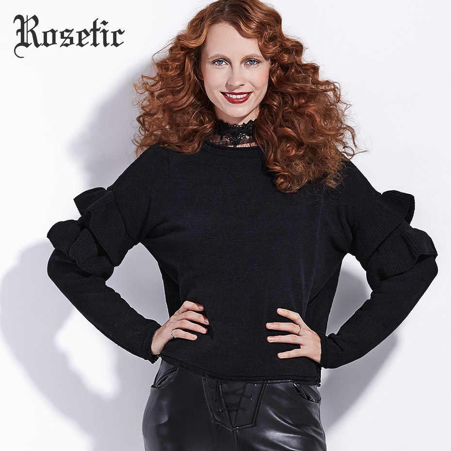Rosetic 2019 новые осенние женские черные шерстяные свитера с рукавом-бабочкой и круглым вырезом, свободные готические свитера