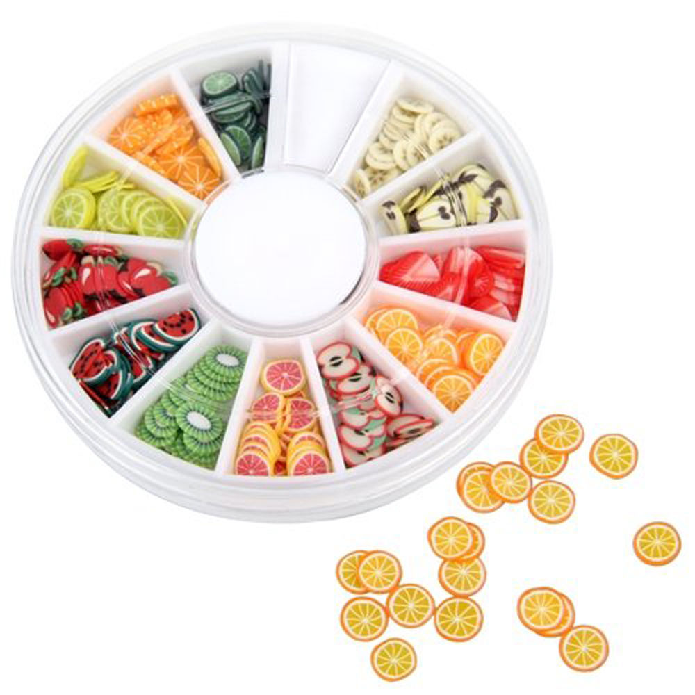 240pcs Mixed Styles 3D Fruit Tiny Slices Sticker Polymer Clay DIY Designs Slice Nail Art Decors Women Nail Art Tips Fruit Slice