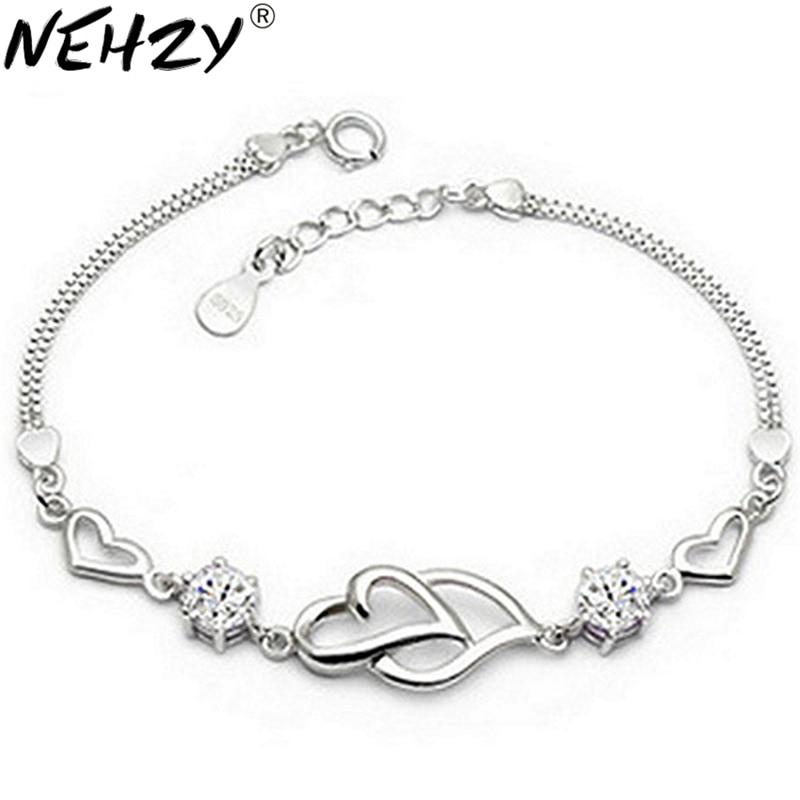 NEHZY 925 sterling silver new heart to heart bracelet fashion female models cute vintage wild super flash jewelry Purple crystal