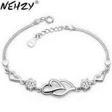 NEHZY-pulsera de plata de ley 925 con corazón a corazón para mujer, Cristal púrpura de joyería vintage superllamativas