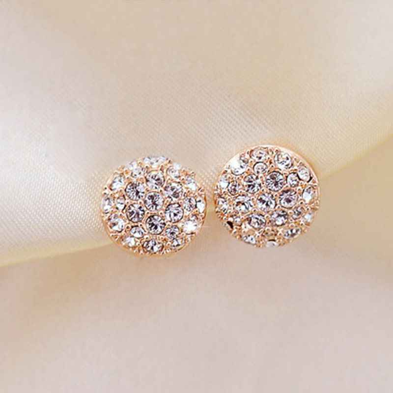 New Fashion Round Crystal Earrings Cute Stud Earrings for Women Fashion Jewelry Birthday Gift Wholesale
