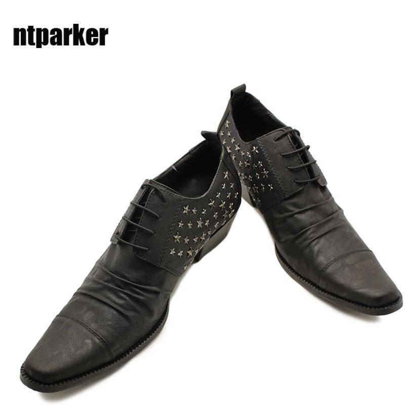 ntparker - Японская модель кожа мужская обувь квадратный носок 6,5 см мужчины платье кожаные ботинки на шнуровке бизнес/партии/Свадебные туфли